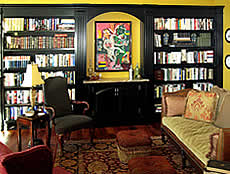 Built for the home of an art collector,this bookcase in black lacquer was designed to showcase a significant piece.