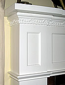 Close up of cast plaster molding.